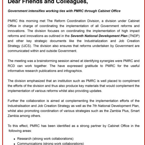 Public Statement – Government intensifies working ties with PMRC through Cabinet Office